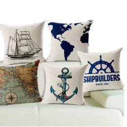 Wholesale New Throw - 2017 New Pillow Cover Decorate Vintage Mediterranean Capa Almofada Marine style Throw Pillows Gifts Pillow Case