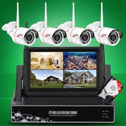 Wholesale Camera Security Wireless Screen - DHL FREE ANRAN P2P Plug and Play 4CH Wireless 7 Inch LCD Screen NVR Kit 720P HD Outdoor Security Wifi Camera CCTV System With 1TB HDD