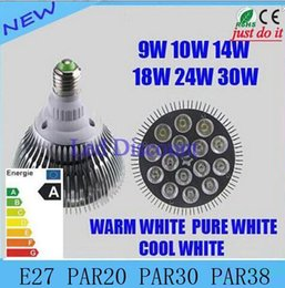 Wholesale Spot Light E27 9w - DHL Not Dimmable Led bulb par38 par30 par20 85-265V 9W 10W 14W 18W 24W 30W E27 par 20 30 38 LED Lighting Spot Lamp light downlight