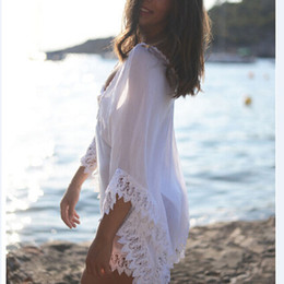 Wholesale White Beachwear Dresses - The new beach bikini white lace blouse clothing Knit blouse beachwear bikini blouse hollow mesh sand beach dress coat jacket