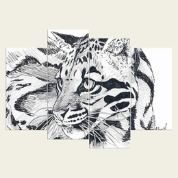 Wholesale tiger canvas wall art - (No frame) The tiger two series HD Canvas print 4 pcs Wall Art Oil Painting Textured Abstract Pictures Decor Living Room Decoration