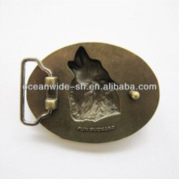 Wholesale Antique Western Bronze - Retail Antique Bronze Plated Wolf Western Oval Belt Buckle BUCKLE-WT013AB Brand New In Stock M67859
