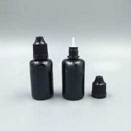 Wholesale E Vapor Plastic Tips - Fast Shipping Black PET Empty Bottle 30ml Plastic Dropper Bottles with Long Tips and ChildProof Caps Vapor E Liquid Black Needle Bottle 1OZ