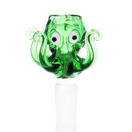 Nuovo disegno bong 14mm online-Art Design Nuovo 14mm 18mm Ciotola di vetro stile polpo Ciotole di vetro di pyrex spesso con ciotola di bong di acqua colorata blu tabacco erba per fumare