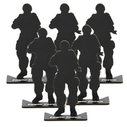 Wholesale Shot Target - ar 15 tactical 6pcs airsoft hunting gun accessories iron metal soldier model shooting targets for hunting black