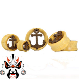Wholesale Ear Plugs Body Jewelry Wood - Free shipping wood anchor ear plugs and tunnels flesh tunnel ear gauges piercing body jewelry 10-30mm