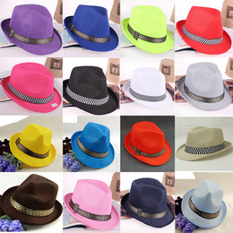 Wholesale White Fedora Women - 10 Colors Men Women Children Sun Hats Soft Fedora Panama Hats Summer Spring Outdoor Jazz Stingy Brim Caps Fashion Street Top Hats GH-38