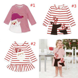 Wholesale Christmas Santa Deer - Baby Girls Christmas Party Cosplay Costume Princess Santa Claus Deer Elk Dress Stripe Long Sleeve Dress