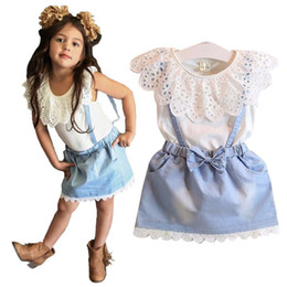 Wholesale Girls Denim Sleeveless Shirts - Kids Outfits Suit 2016 Summer Girls Lace Dress set White T Shirts+denim skirt Baby Denim Skirt Kid Dress Suits Kids Clothing 26yt