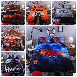 Wholesale Modern Kids Bedroom Set - 6 Styles 3D Print Bedclothes Mischievous Halloween Pumpkin Bedroom Set Black Halloween Zombie Bed Sheet Kids Bedding Set CCA7591 1set