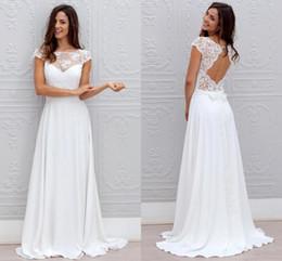 Wholesale Open Back Short Chiffon Dress - Bohemian White Wedding Dresses Lace Chiffon Open Back With Cap Sleeves Sheer Neck Sweep Train Cheap Beach Bridal Wedding Gowns 2018