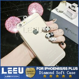 Wholesale Bling Bling Glitter Mickey Ears Diamond Case for iphone S Plus Soft clear TPU Case for galaxy s7 edge s6edge LG huawei