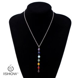 Wholesale Wholesale Yoga Jewelry - New Design Healing Balancing Jewelry Fashion Long Natural Stone Choker Necklace 7 Chakra Beads Pendant Chain Necklace Women Yoga Reiki