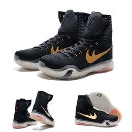 Wholesale Ribbon Flower Rose Appliques - (With shoes Box) 2016 New Bryant Kobe 10 X KB Elite High Rose Gold Black Bronze 718763-091 Men Boots Shoes