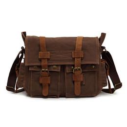 "Wholesale 14 Laptop Shoulder Bag - 10L Retro Men's Messenger Shoulder Bag Canvas with Crazy Horse Leather Belts Briefcase Messenger Bag Fits 14"" Laptop 2138"