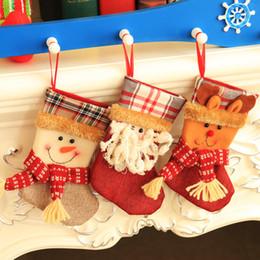 niños guantes amarillos Rebajas Bolsa de navidad Adornos scok 20 * 13 cm muñeco de nieve alce de santa claus Telas Navidad Calcetines Regalos del partido para los niños Bolsa de caramelo Medias de Navidad