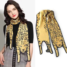 Wholesale Scarves Decorative - 2017 New Fashion Leopard Tiger Cat Dog Panda animal series Print Scarves Double layer Decorative scarf for Adults and children