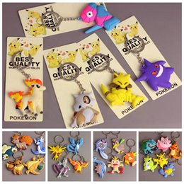 Wholesale Silicone Keychains - Poke Mon Silicone Keychains Pikachu Charmander Bulbasaur Squirtle Eevee Snorlax PVC Action Figure Keyring 25 Styles OOA2589