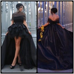 Wholesale Tulle Ruffles - Fashion Black Mother and Daughter Prom Dresses Off Shoulder High Low Taffeta Evening Gowns vestidos de baile Custom Made
