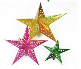 Wholesale Christmas Three Ornaments - 45cm Three-dimensional laser pentagram Condole is hanged adorn The five-star Christmas decoration Christmas decoration stars Christmas paper