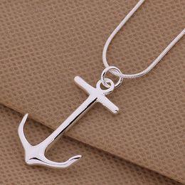 colar de prata âncora colar Desconto NOVA 925 Sterling Silver Moda Encantos HOT Anchor Pingente de Colar de Jóias # R571