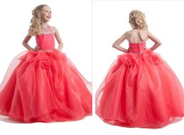 Wholesale Bubble Cascade - Charming Girl Pageant Dress With Romantic Rose Cascading Ruffle Beadeds Bubble Dresses For Wedding Bridesmaid Formal Occasion