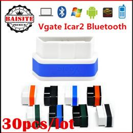 Wholesale Code Vgate Bluetooth - Factory price!!30pcs lot vgate icar2 icar 2 elm327 bluetooth,Original Vgate icar2 bluetooth elm327 obd2 elm327 icar2 bluetooth in stock