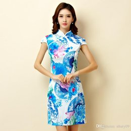 Wholesale Women Satin Cheongsam - Blue color M-3XL Plus size women clothing elegant print short dress chinese traditional party satin cheongsam