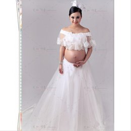 Wholesale Stretch Lace For Gowns - Maternity Lace Gown Free Size Stretch Lace Maternity Photography Props for Pregnant Pregnancy Gown Clothes Photo Shoot Dress