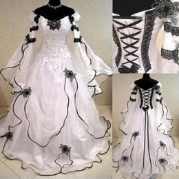 Wholesale Gothic Corset Gowns - Vintage Plus Size Gothic A Line Wedding Dresses With Long Sleeves Black Lace Corset Back Chapel Train Bridal Gowns For Garden Country