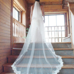 Wholesale Two Tier Lace Cathedral Veil - Beautiful 2 Tiers Cathedral Length Wedding Veils Lace Edge Bridal Veil With Comb Wedding Accessories Bridal Viels