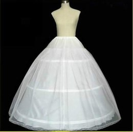 Wholesale Layered Petticoats - White 3 Hoops Petticoats with Layered Hard Tulle Crinoline Long Underskirt Puffy Elsatic for Women Bridal Wedding Dress Gowns