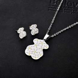 Wholesale China Trade Jewelry - Cartoon Bear jewelry wholesale trade bear Titanium Necklace Earrings Set
