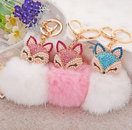 Wholesale Bling Key Rings - Cute Bling Rhinestone Fox Shaped Fur Ball Fluffy Keychain Car Key Chain Ring Pendant For Bag Charm Hot sale
