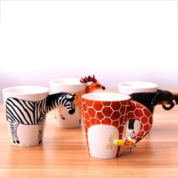 Wholesale Animal Mugs - 3D ceramic cups pure hand - painted animal cup personalized painted cups creative coffee mug large - capacity mug IC609