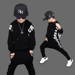 Wholesale Boys Hip Hop Trousers - 2017 Kids clothing Hip Hop Fashion Baby Boys Girls Sport Suit Kids Clothes Cotton Sweater + Trousers two pieces Children Clothing Set