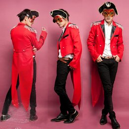 Wholesale Sexy Red Pirate Costume - Sexy Red Halloween Party Magician Tuxedo Circus Costumes Masquerade Cosplay Caribbean pirate Costume High Quality