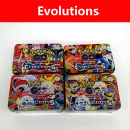 Wholesale Pokemon Box Set - 2017 New Hot poke 42Pcs Set( iron box) Cards STEAM SIEGE and Evolutions Kids Toys