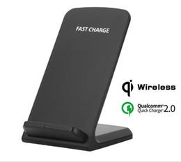 Iphone stand adapter online-2 Spulen schnelle drahtlose Aufladeeinheit mit Adapter QC 2.0 Qi, der Tischplattenstandplatz-Halter für Samsung-Galaxie S8 plus S7 Rand iPhone X 8 7 auflädt