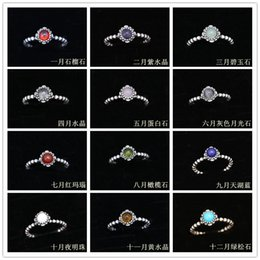 Wholesale Moonstone Amethyst Ring - Newly S925 silver vintage Birthstones rings natural garnet amethyst opal moonstone kallaite rings natural gemstone birthday rings PD-D-538
