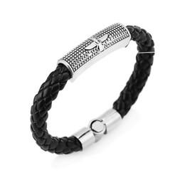 Wholesale Mens Leather Id Bracelets - Leather Bracelets Mans Bracelets retro Punk Style Stainless Steel Clasp Mens Friendship Charm Jewelry Fashion accessories