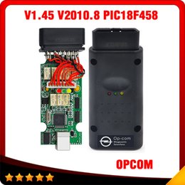 Wholesale Op Com Interface - 2016 Hot selling New version V1.45 OPCOM PIC18F458 Interface V2010 opcom OP com Professional opel diagostic tool 10pcs lot DHL free