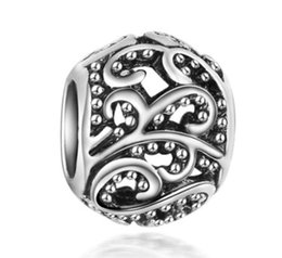 Wholesale Silver Diy Charms For Necklaces - Fits Pandora Bracelets 10pcs Hollow Flower Charms Beads Silver Charms Bead For Wholesale Diy European Necklace Jewelry Accessories Xmas