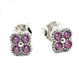 Wholesale Oriental Jewelry - Oriental Blossom Pink CZ 2016 Summer 100% 925 Sterling Silver earring Fit Pandora Charms earring Authentic DIY Bead Fine Jewelry