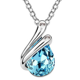Wholesale Design Crystal Drop Necklace - Branded Design 18K White Gold Plated Made with Swarovski Elements Crystal Necklace Women Jewelry Water Drop Pendant 2360