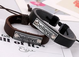 Wholesale Price Angels - believe bracelet Fashion jewelry holiday gif Handmade low Price Wholesale cuff Bangles BELIEVE mens bracelets women jewelry