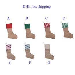 Wholesale Decorative Ornaments - 2017 canvas Christmas stocking gift bags canvas 12*18inch Christmas Xmas checvron stocking decorative socks bags DHL ship