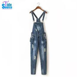 Agujeros del traje online-Al por mayor-Western Autumn Vintage Hole Jeans Rompers para mujer mono todo fósforo casual azul guardapolvos de mezclilla bolsillo frontal largo lápiz Body
