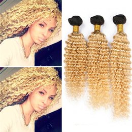 Wholesale Dark Blonde Curly Hair Extensions - Dark Roots 1B 613 Ombre Deep Wave Hair Bundles 2 Tone Blonde Ombre Curly Human Hair Weaves 8A Malaysian Ombre Hair Extensions