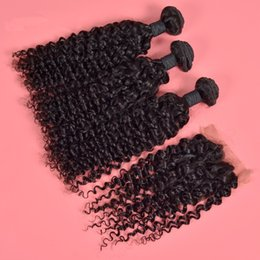Wholesale Silk Top Lace Closure Indian - Indian Deep Curly 4*4 Silk Base Closure With Hair Bundles 3Pcs Virgin Human Hair Weave With Silk Top Full Lace Closure 4Pcs Lot